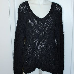 Free People Black Chunky Nubby Vneck Sweater S